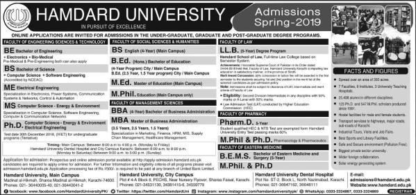 Hamdard University Admission 2021 Spring Apply Online