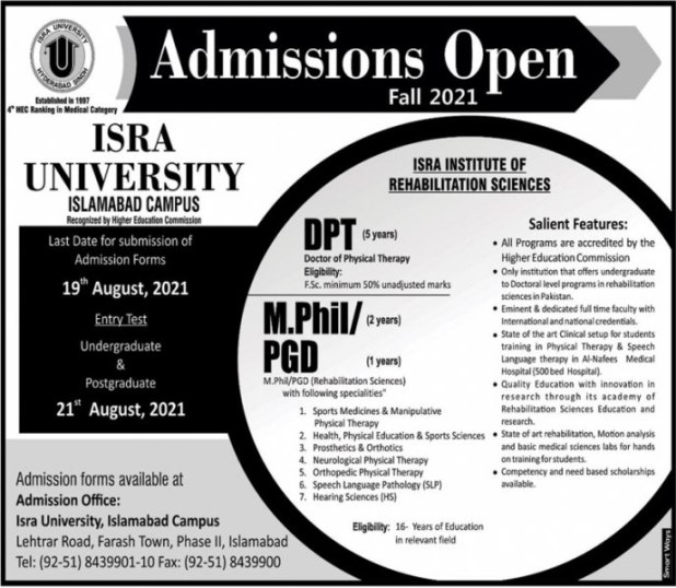 ISRA University Entry Test 2021 Form Submission Date Results