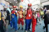 Super Mario in various outfits, including the Super Mario Maker outfit.