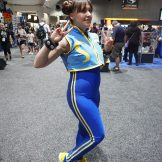 Chun-Li in her Street Fighter Alpha outfit.