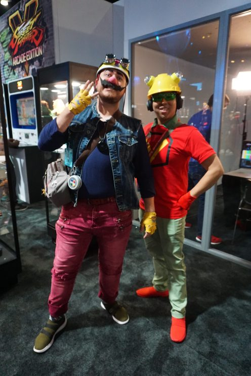 Wario and 9-Volt from the WarioWare series at E3 2018.