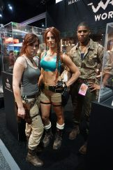 Three different Lara Crofts, with modern, classic, and a genderbent Lara from Shadow of the Tomb Raider.