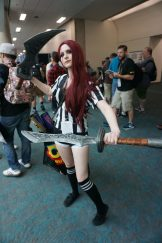 Katarina from League of Legends in her Red Card skin.