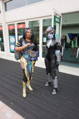 Another Widowmaker and Symmetra pairing from Overwatch, Widowmaker with a rendition of the Nuit skin and Symmetra with her Peacock skin.