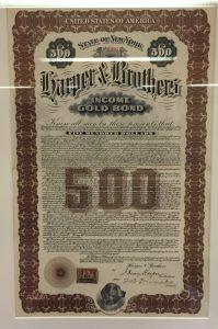 Harper & Brothers Bond Certificate