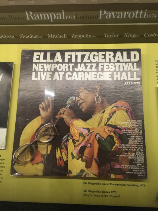 Ella Fitzgerald, LP cover and glasses, Rose Museum @ Carnegie Hall