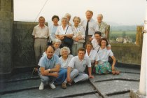 An outing to the top of the tower at Bishop's Cleeve Parish Church. Those pictured include Geoff and Margaret Pitt, Stan Coles and Hilda Bishop (back row), Geoff Newsum, Enid Peabody, David Aldred, Mary Postlethwaite, Dave and Tricia Atkinson (front row).