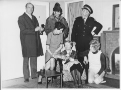 'Just the Ticket', a production by the Triton Players, March 1974. From left, Charles Stanford, Ron Davies, Brenda Shelmerdine, Barbara Hulme, George Hurn, Myra Card.