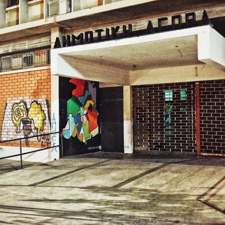 Different forms of street art in Dimotiki Agora in Nicosia