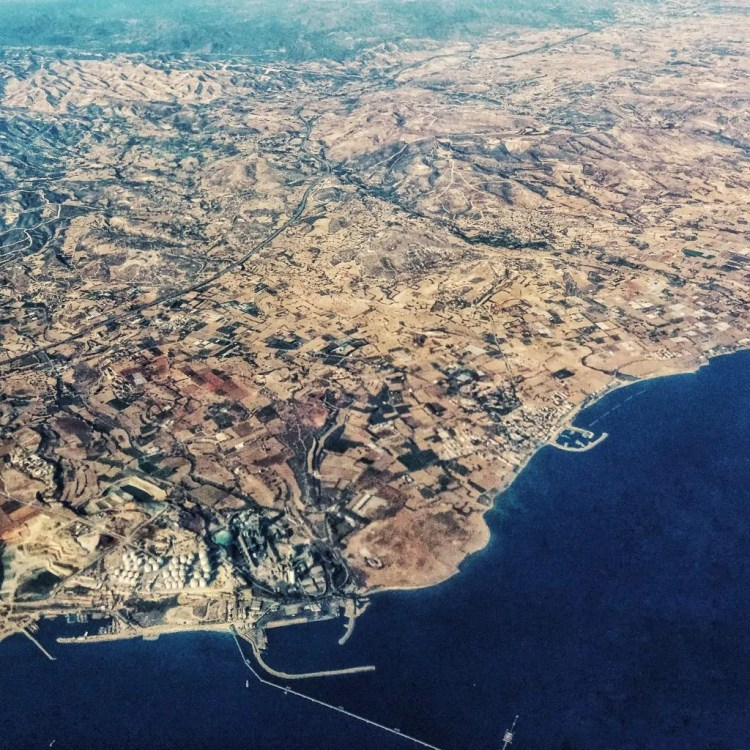 Flying over Larnaca on my way from Cyprus to Greece