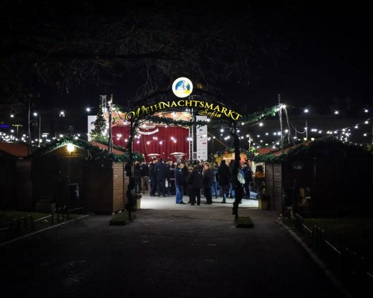 The entrance to the Sofia Christmas Market