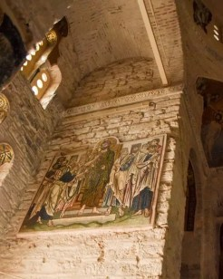 Artwork under restoration in the church