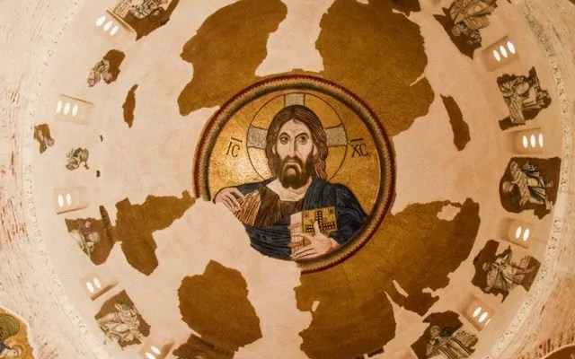 The painting of Jesus in the dome of the church