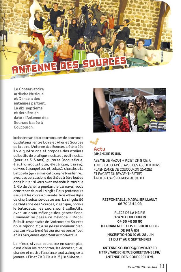 Article du magazine culturel ardéchois Pleine Tête sur l'Antenne des Sources en juin 2014