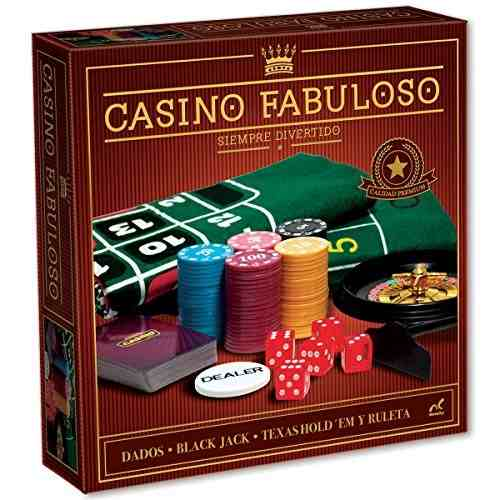 FABULOSO CASINO NOCTURNO CON PAÑO BARAJAS FICHAS RULETAS, CAJA FOIL
