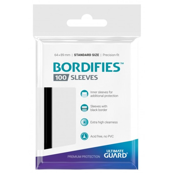 Ultimate Guard Bordifies Precise-Fit Sleeves Standard Size Black (100 ct.) (UGD010714CN) (100/case)