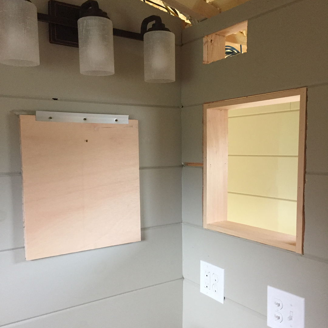 Getting the TaHOW tinyhousebathroom medicinecabinet and walls mirrors and fanhellip