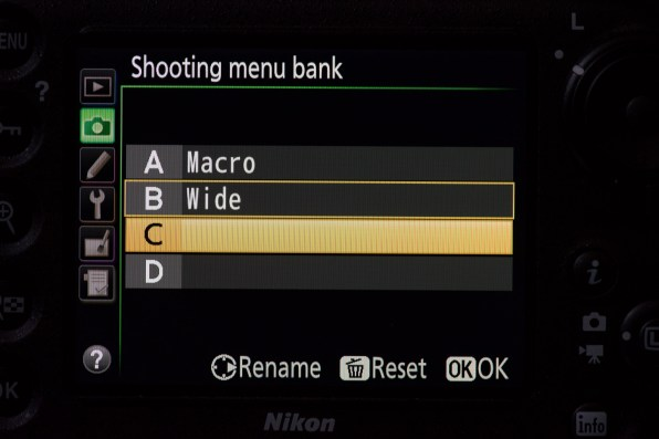 Custom Shooting Menu settings can be saved and the preset given a name
