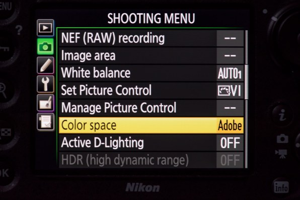 Set the color space to Adobe RGB