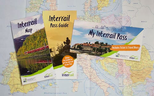 Inter rail ticket and map