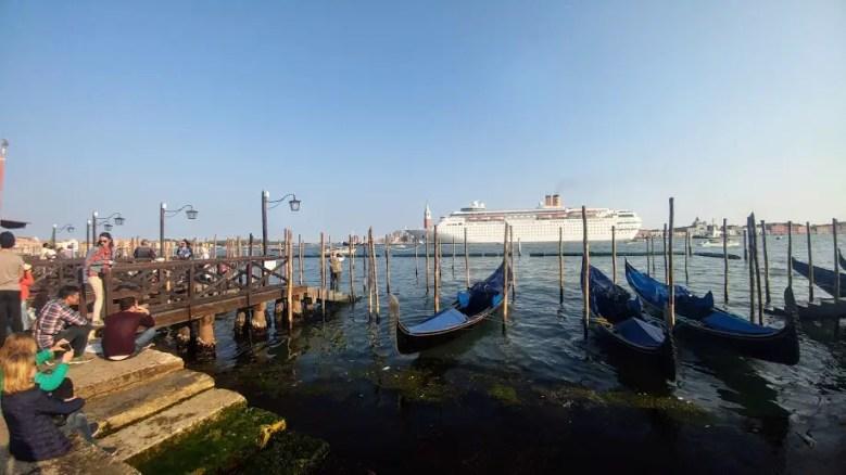 Cruise Ship and Gondolas in Venice