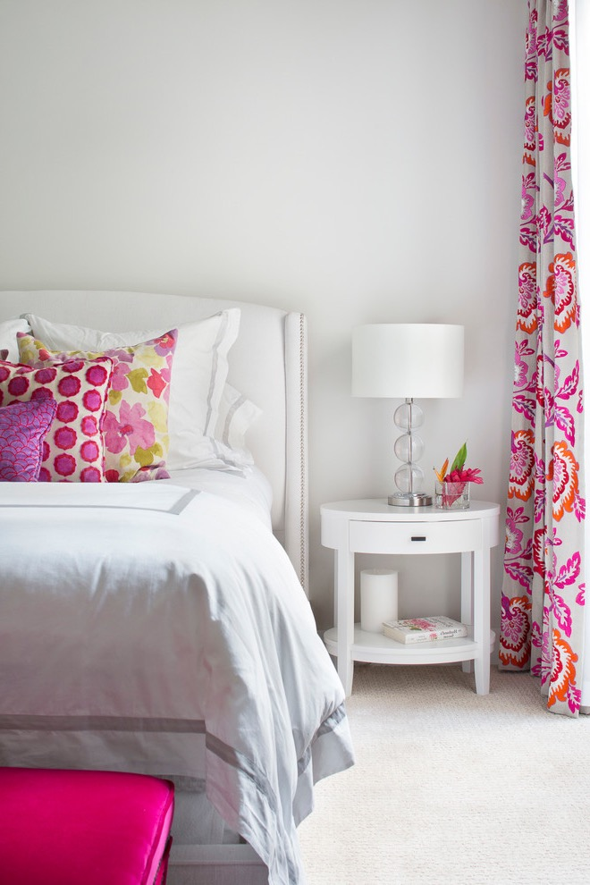 Pink Floral Accent Chair