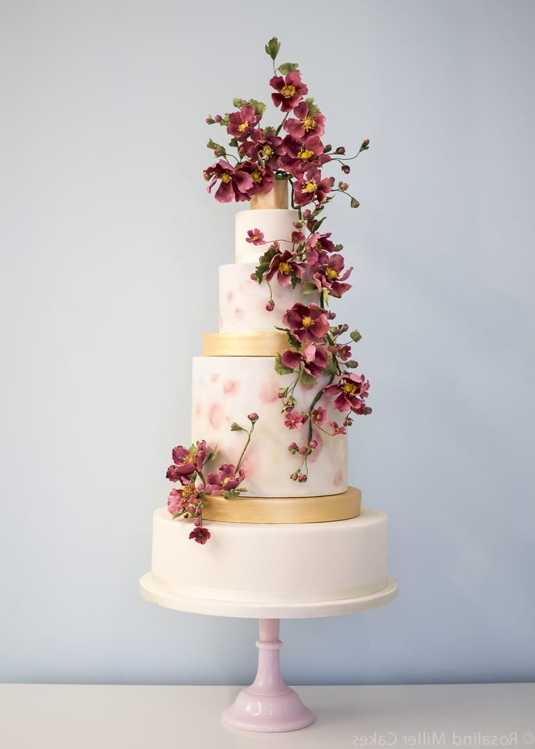 20 Couture Wedding Cakes Ideas  19508   Wedding Ideas Marsala Blossoms Couture Tall Wedding Cake  Image 12 of 20