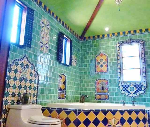 Mexican Full Tile Toilet Bathroom Interior Image