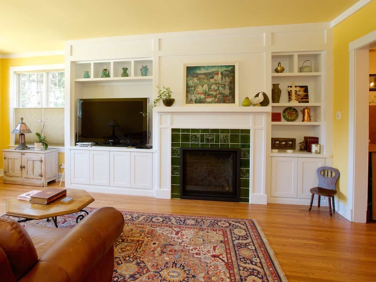 craftsman style living room remodel with custom cabinetry #50755