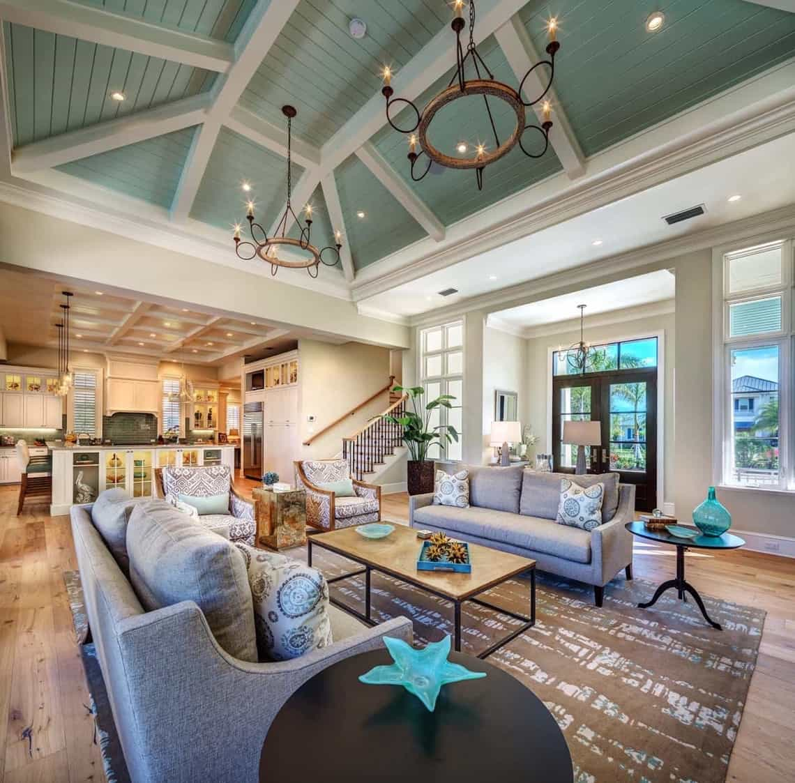 Wonderful Open Concept Coastal Living Room With Sage Green