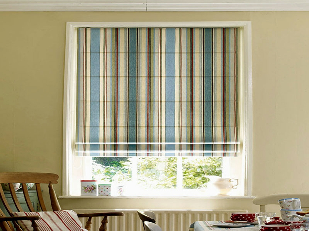 15 Collection Of Striped Roman Blinds Curtain Ideas