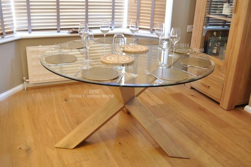 20 Photos Round Glass Dining Tables With Oak Legs Dining