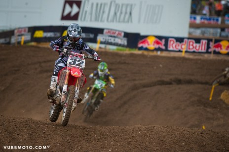 Tommy leading Weimer during the 1st Moto at Thunder Valley (vurbmoto photo)