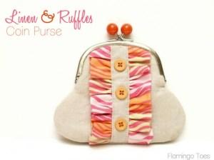 Linen and ruffles coin purse tutorial