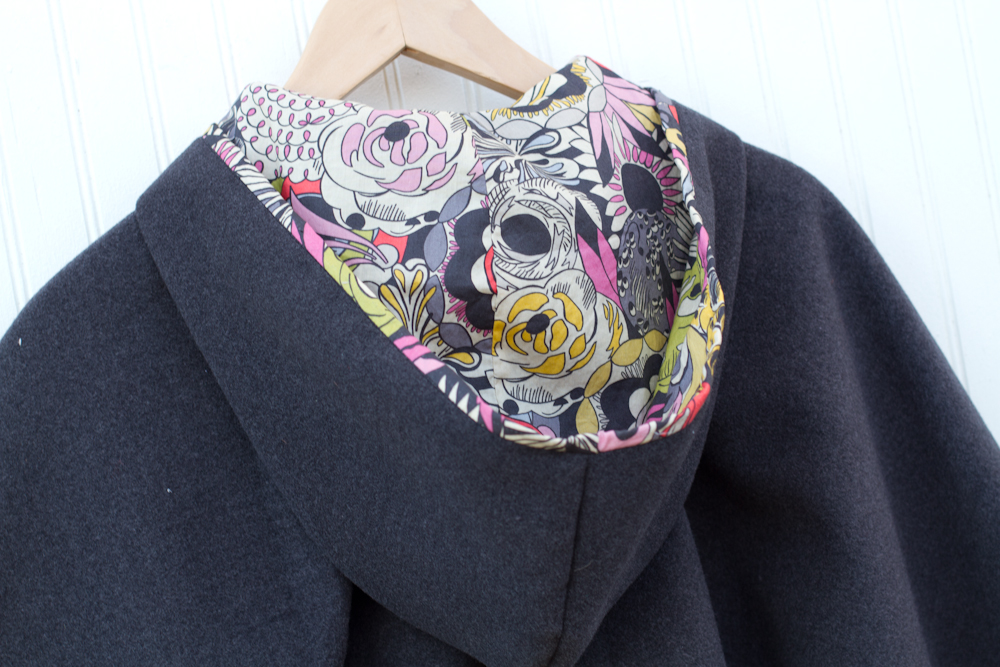 cape sewing pattern. amazing liberty print in hood