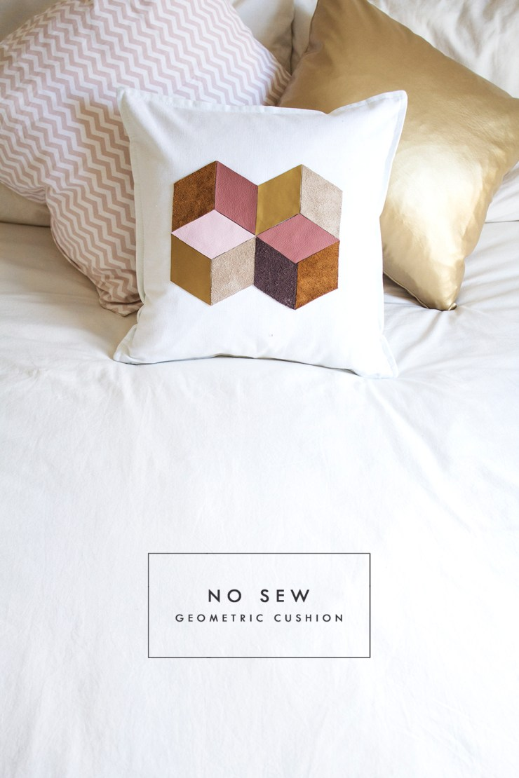 """Here's a """"no sew"""" way to use up your fabric scraps. The Lovely Drawer created this adorable cushion embellishment using leather scraps, but you can use other fabrics to recreate this look. -Sewtorial"""