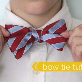 Upcycle a men's dress tie to create this handsome tie for teens. Grab the free pattern for a boy bow tie upcycle from It's Always Autumn. - Sewtorial