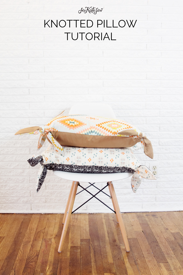 Create a lovely knotted pillow with this free pattern and tutorial from See Kate Sew. - Sewtorial