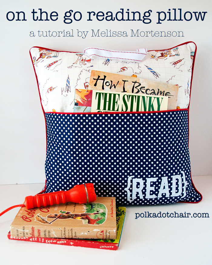 Learn to create your own reading pillow with this pocket pillow tutorial by Polka Dot Chair. -Sewtorial