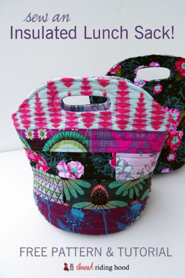 The Insulated Lunch Sack by Sherri of Thread Riding Hood (for Sew Mama Sew) keeps your lunch at just the right temperature. -Sewtorial