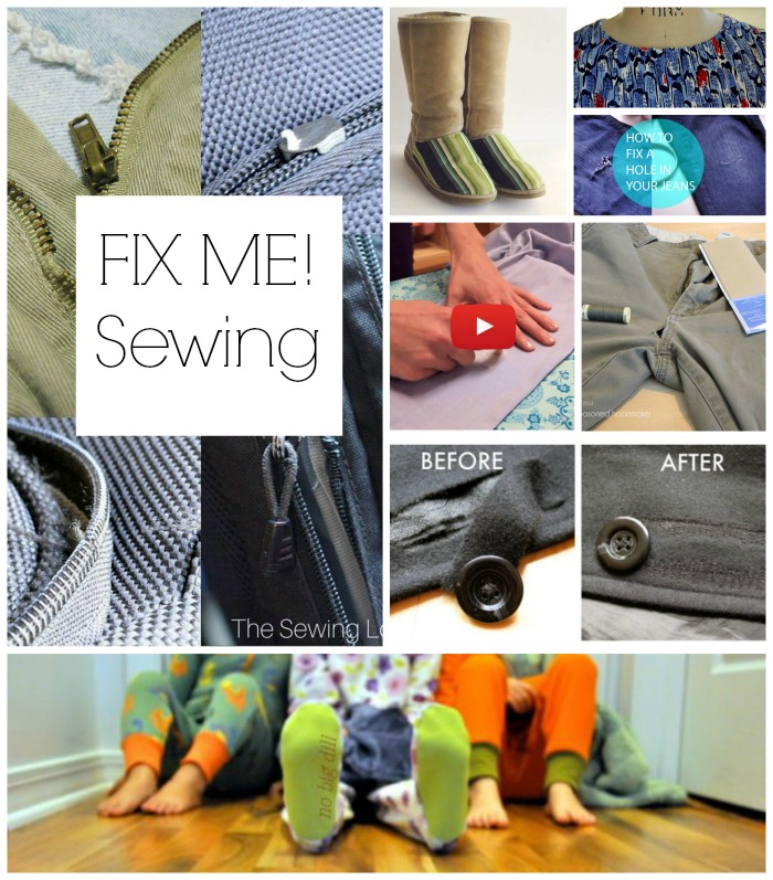 """Rips, tears, holes, and broken """"things"""" happen. Thankfully, mending, fixing and repairing are all possible with our trusty sewing machines (or needles and thread). Here are 8 of our favorite FIX ME sewing tutorials that we think you'll find useful."""