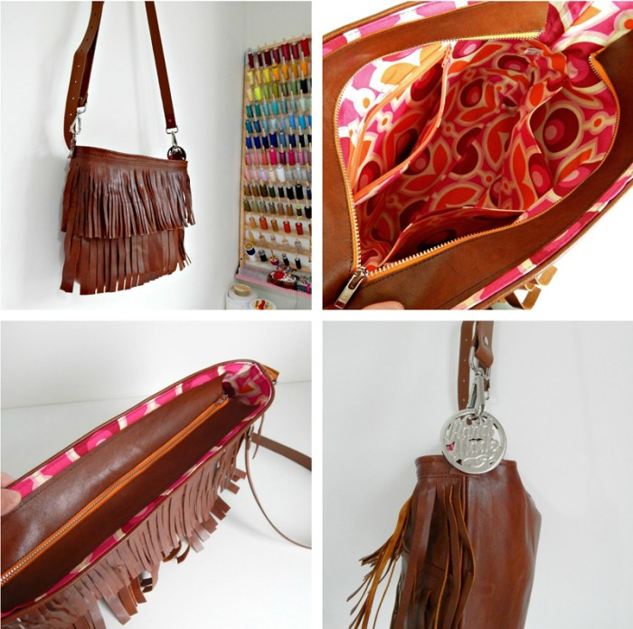 Samantha from Handmade by Mrs. H (for Sew Mama Sew) shares a fun boho fringe bag tutorial that you can make out of leather (or faux). -Sewtorial