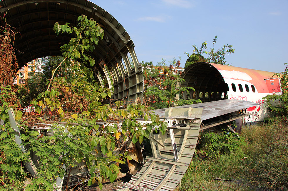Abandoned and overgrown - Airplane Graveyard in Bangkok