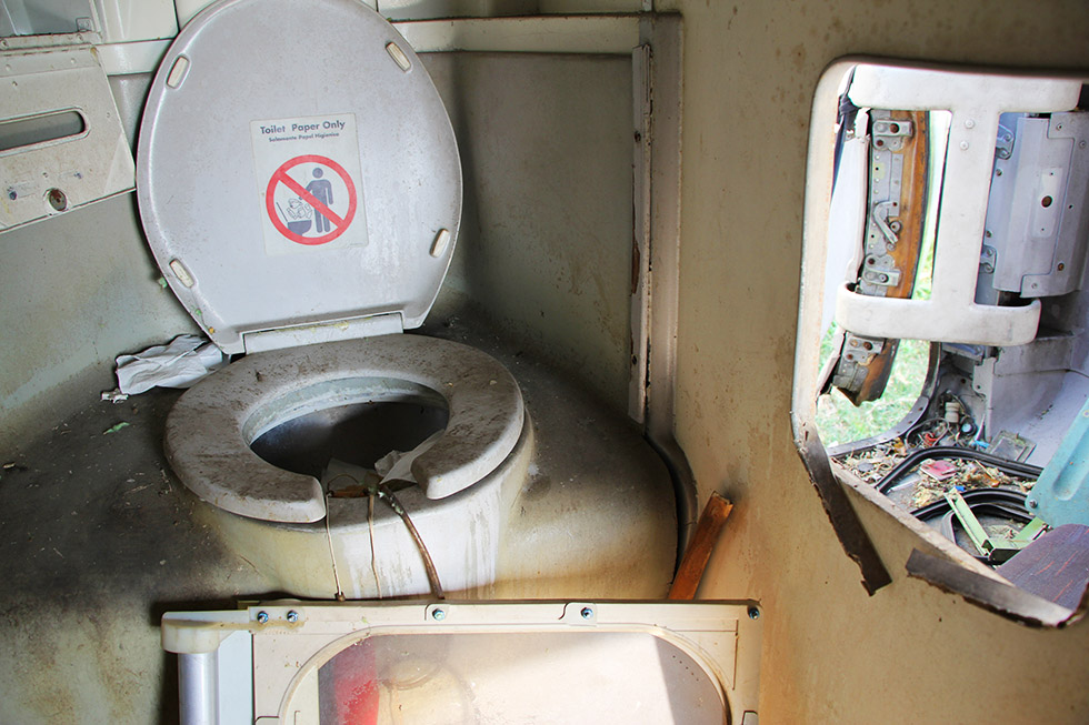 Toilet in one of the airplanes - Airplane Graveyard in Bangkok