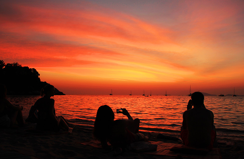 Catching the sunset at Sunset Beach - Koh Lipe