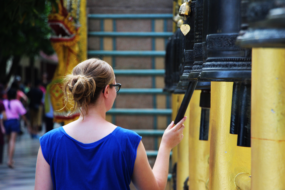 Ringing the bells at Doi Suthep - Chiang Mai