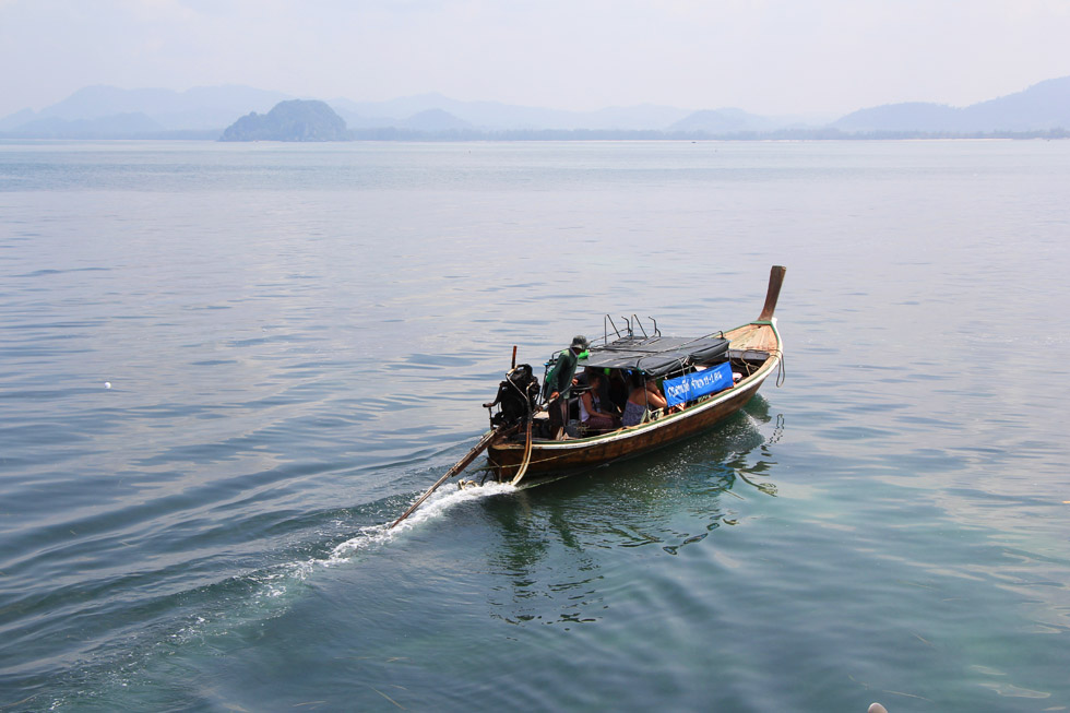 The only way to get to Koh Mook is by long-tail boat