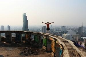 Climbing Sathorn Unique Tower in Bangkok