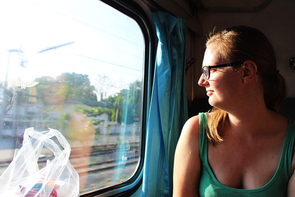 Enjoying the view - Thai sleeper train