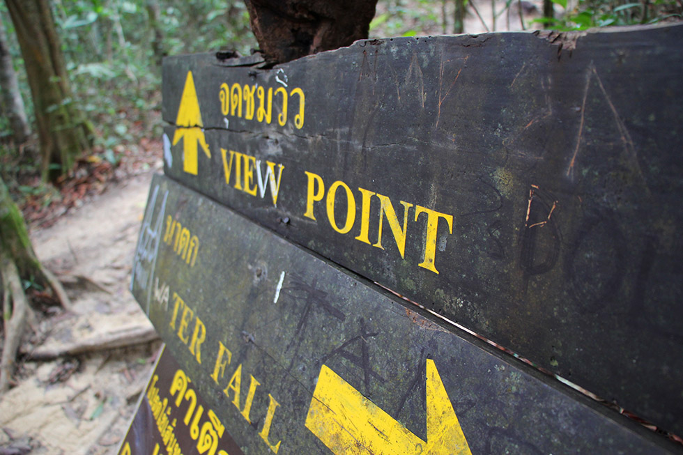 Sign to the viewpoint - Khao Ngon Nak Trail in Krabi